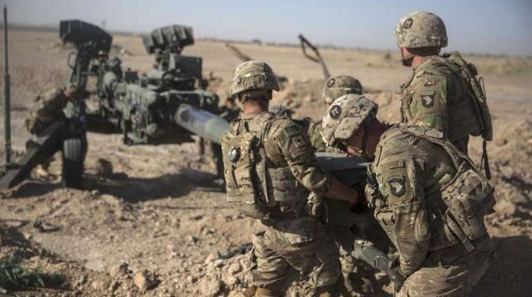 U.S. soldiers are seen with Task Force Iron