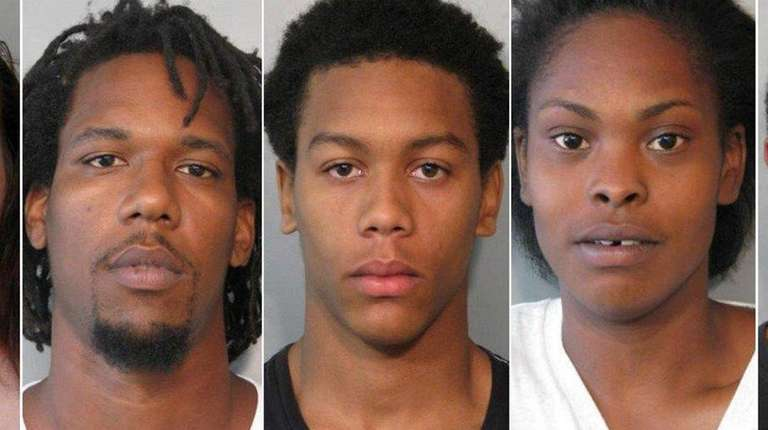 From left, Amber Mahoney, Peter Sanford, Caine Abel-Bey,