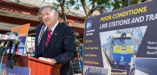 Nassau Comptroller George Maragos, at the Mineola train