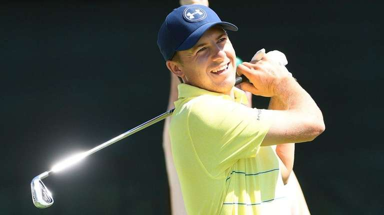 Jordan Spieth tees off on the 17th hole