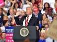 President Donald Trump works up the crowd Tuesday