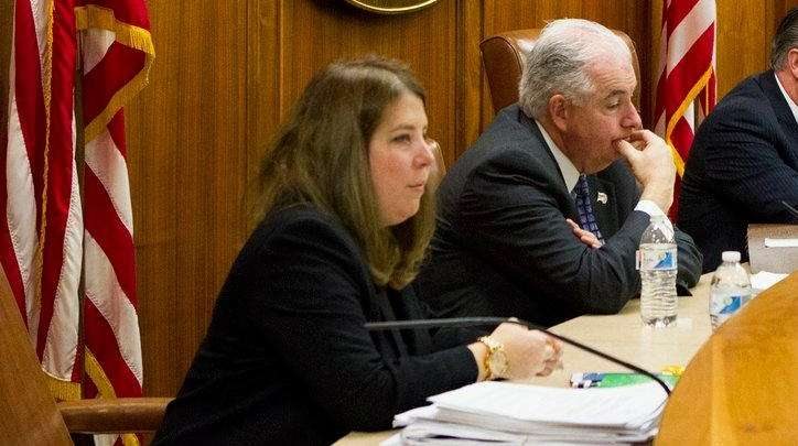 Town of Oyster Bay Councilmember Rebecca Alesia, left,