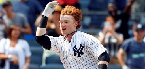 Clint Frazier of the Yankees celebrates his ninth-inning walk-off