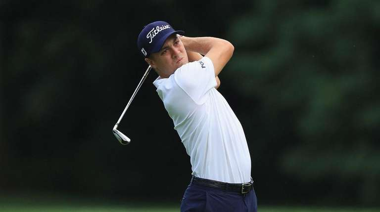 Justin Thomas in action during practice for The