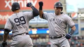 Gary Sanchez of the Yankees celebrates a first-inning