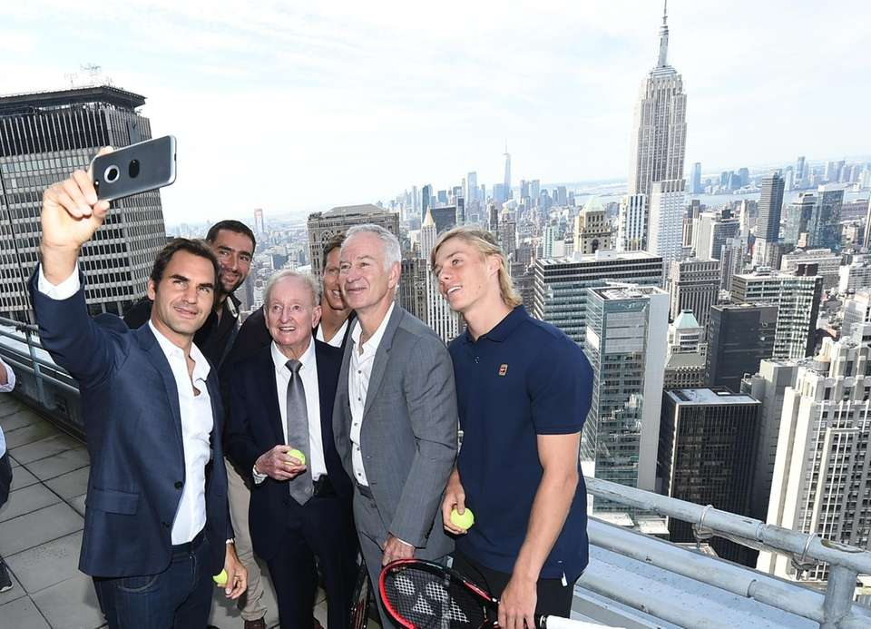 From left, Roger Federer, Marin Cilic, Rod Laver,