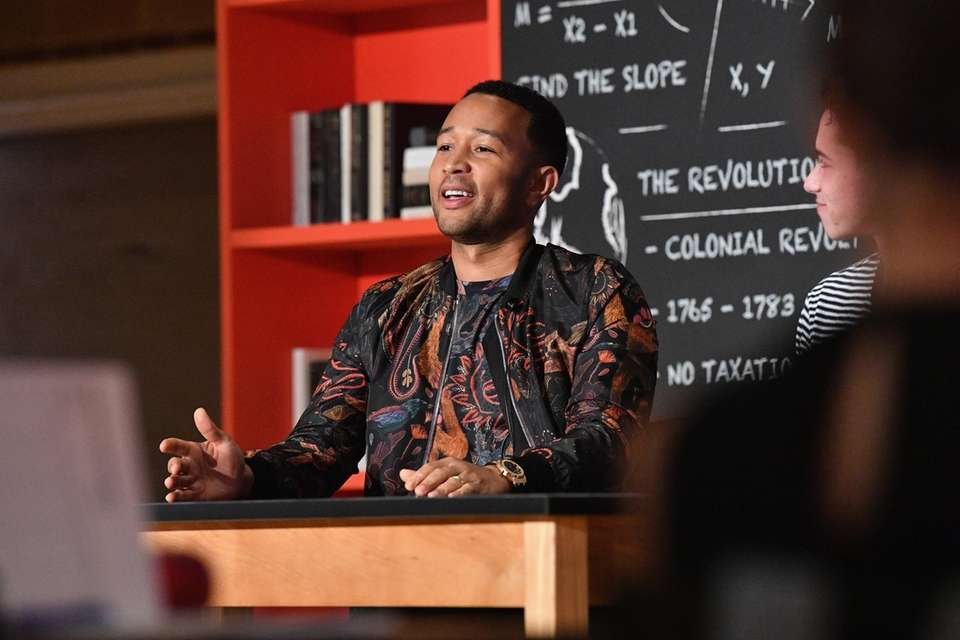 John Legend speaks at the announcement of the
