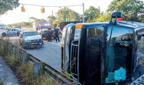 A van overturned after a collision with a