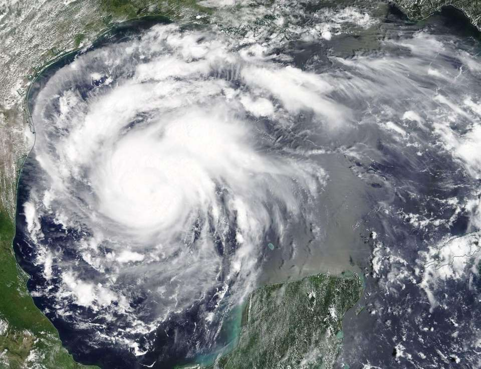 Hurricane Harvey is shown in the Gulf of