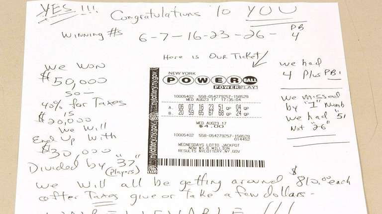 A Powerball ticket with notes written around it