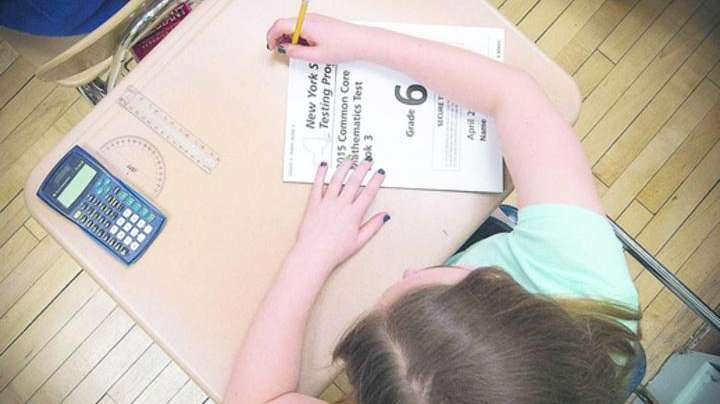 Students at Southside Middle School prepare to take
