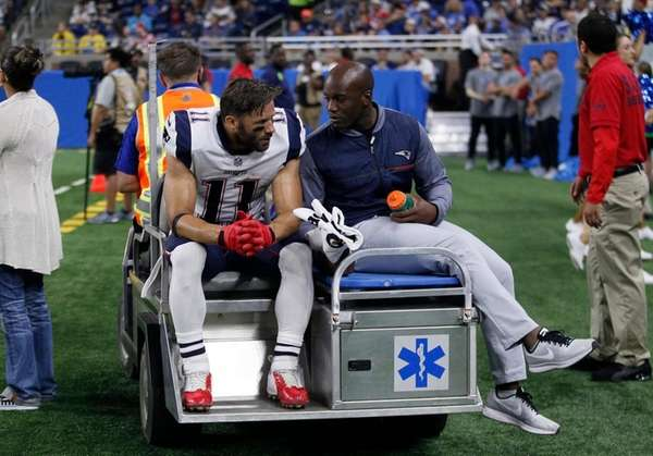 Patriots wide receiver Julian Edelman is carted off