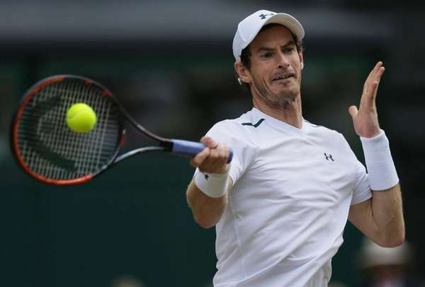 Britain's Andy Murray returns to Sam Querrey of
