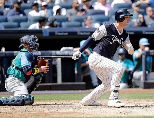 New York Yankees first baseman Greg Bird singles