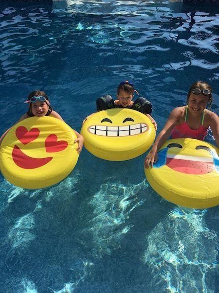 Marisa, Daniela, Johnny enjoying a swim in grandpas
