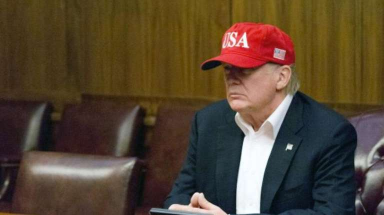 President Donald Trump, working from the Camp David