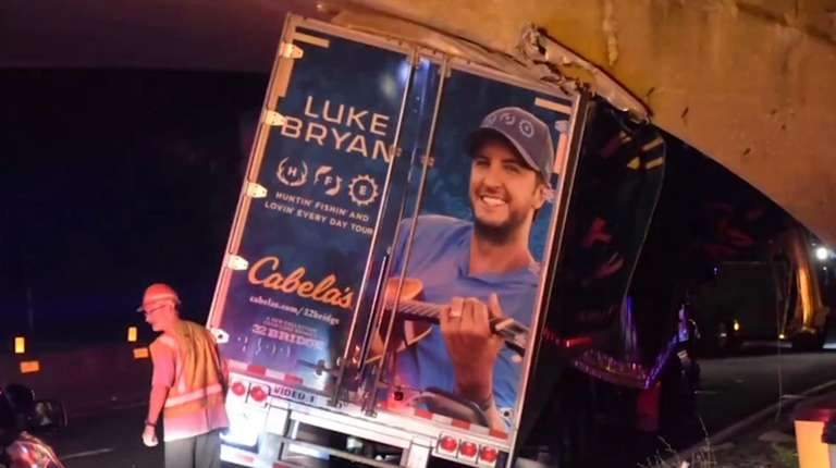 A tractor trailer carrying equipment for the Luke