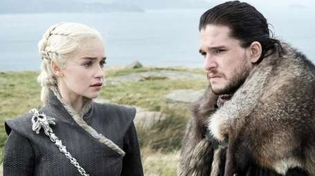 Emilia Clarke as Daenerys Targaryen and Kit Harington
