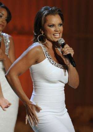 Host of the telecast, Vanessa Williams, is seen