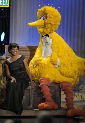 Actress Sonia Manzano performs with Big Bird at