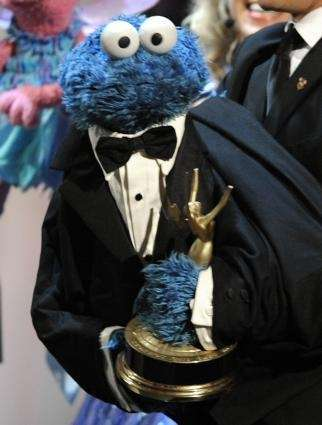 Cookie Monster accepts the Lifetime Achievement Award for