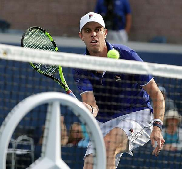 Sam Querrey with the drop volley at the