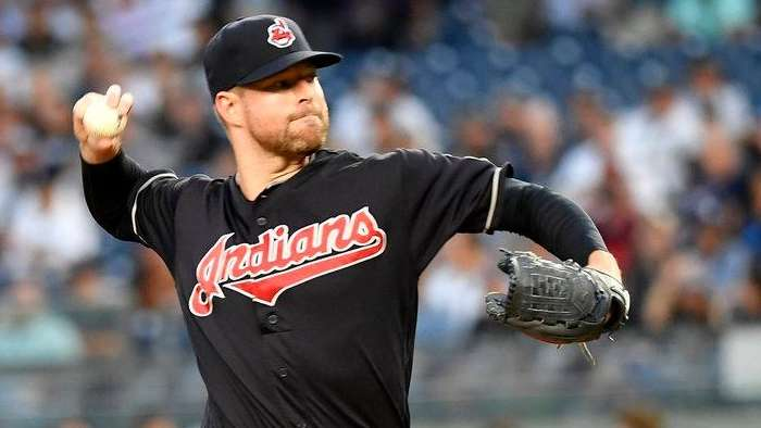Indians'  Cory Kluber pitches against the Yankees on