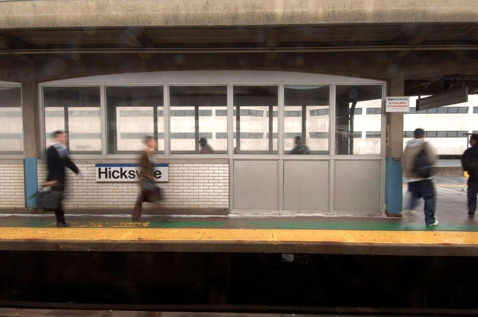 1) Mineola train station 2) Hicksville train station