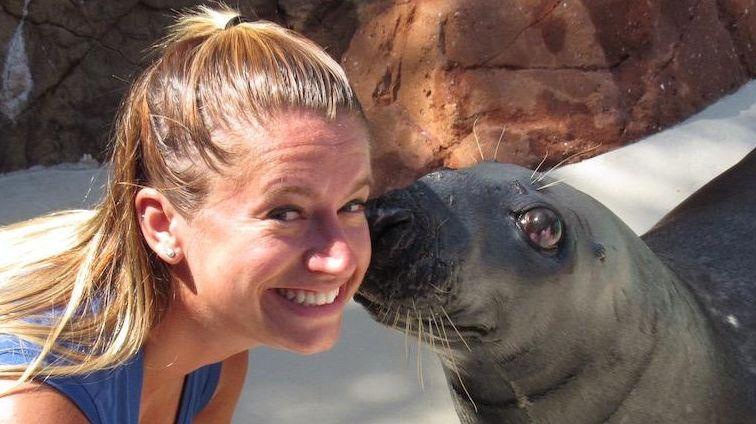 Caroline Walsh, a mammal trainer at Riverhead's Long