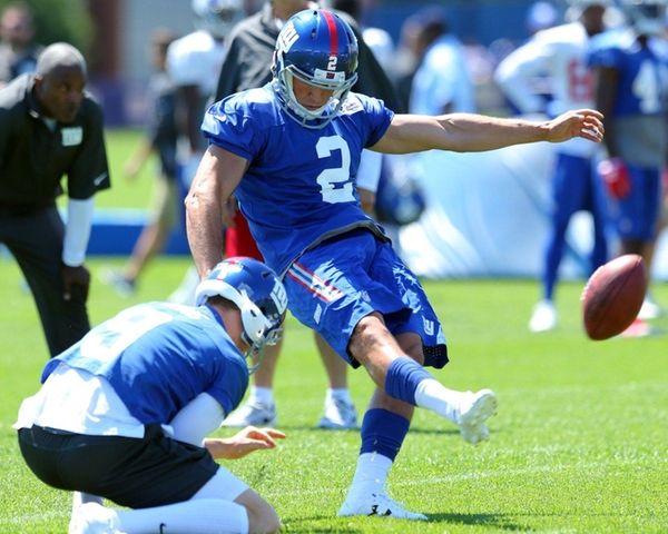 Giants rookie kicker Aldrick Rosas practices at training