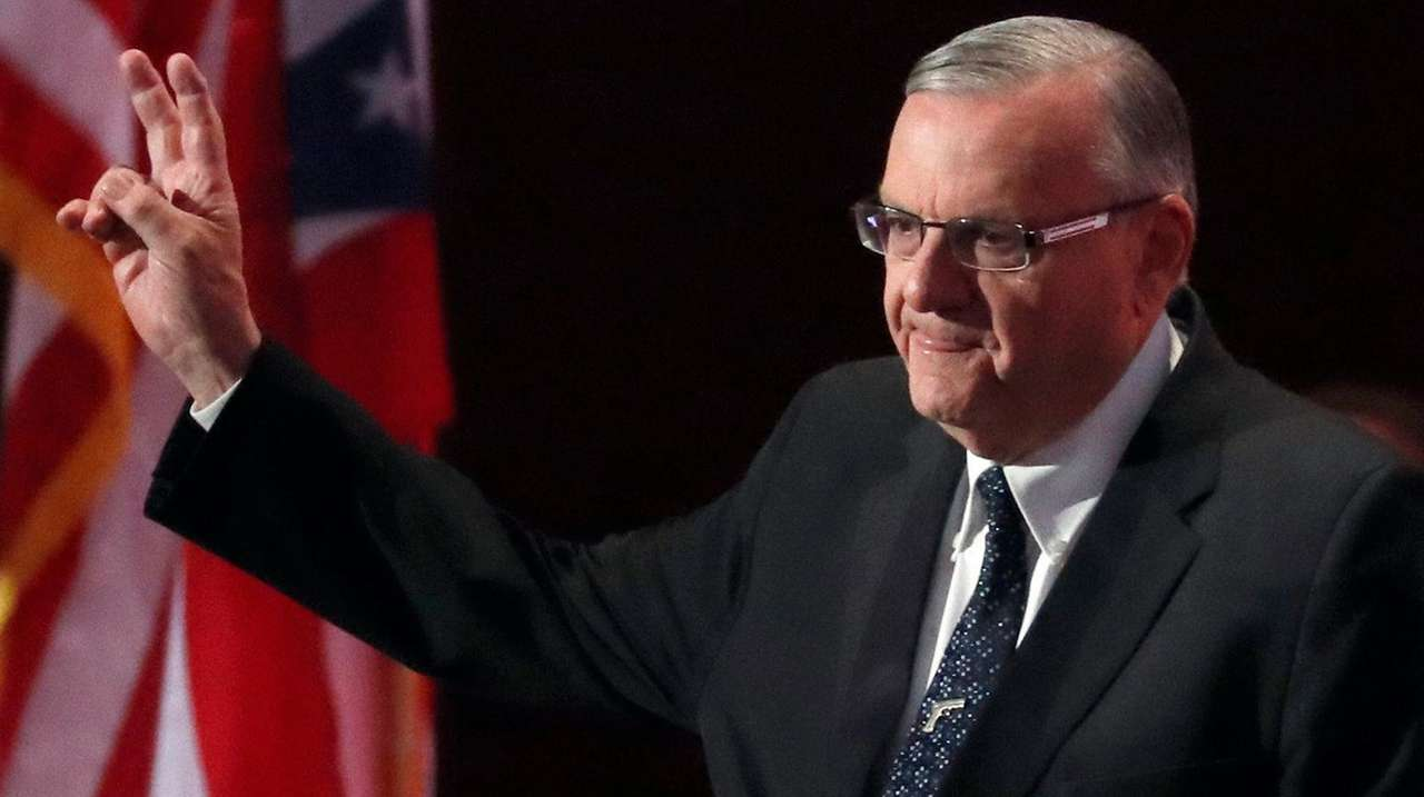 Sheriff Joe Arpaio of Arizona walks onstage to