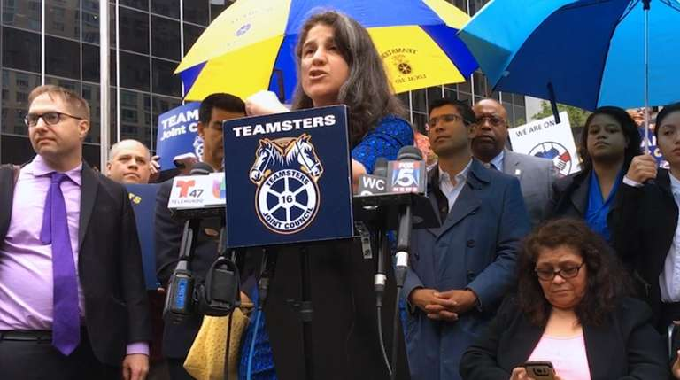 Immigrant advocates, co-workers, labor union members from Teamsters