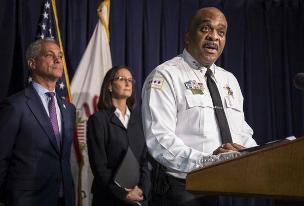 Chicago Police Superintendent Eddie Johnson, accompanied by Illinois