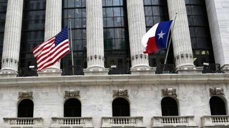 The flag of Texas flies outside the NYSE