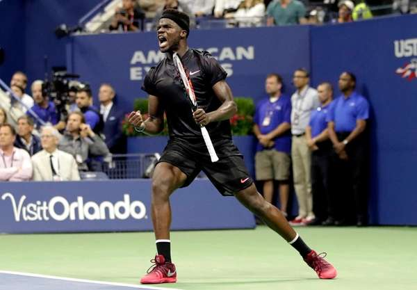 Frances Tiafoe, of the United States, reacts after