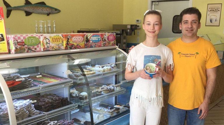 Kidsday reporter Emily Carroll with Treasure Island Desserts