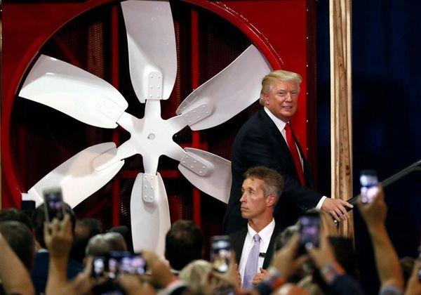 President Donald Trump takes the stage to speak