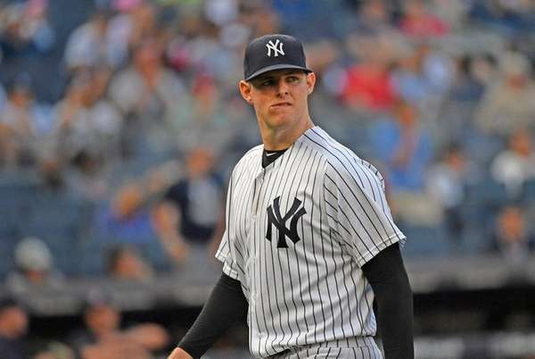 Yankees pitcher Jordan Montgomery heads to the dugout
