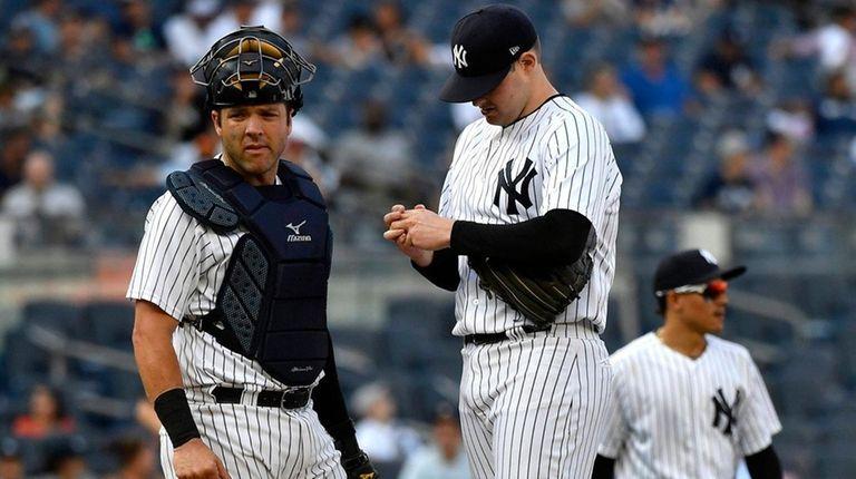 Catcher Austin Romine and pitcher Jordan Montgomery look
