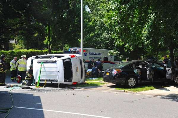 A two-vehicle collision left one of the vehicles