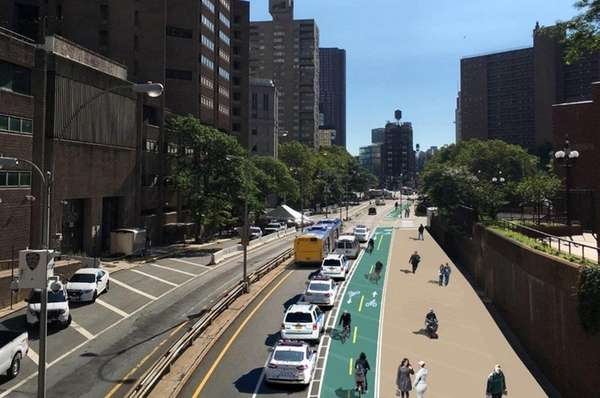 Rendering of the proposed Park Row bike lanes/pedestrian