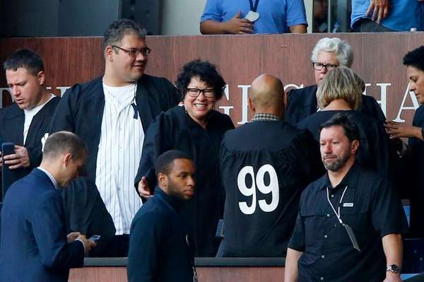 Sonia Sotomayor sits in Aaron Judge's 'Chambers' at Yankee Stadium