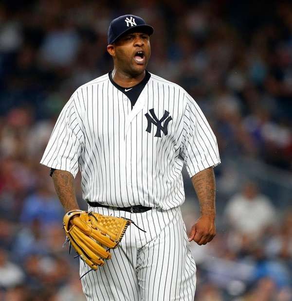 CC Sabathiaof theYankees reacts after aninning-ending double play