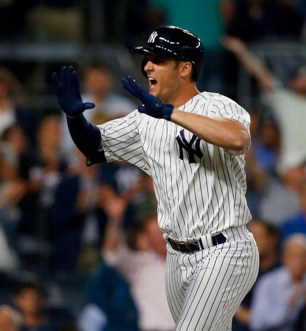 Greg Bird of theYankees celebrates his home run