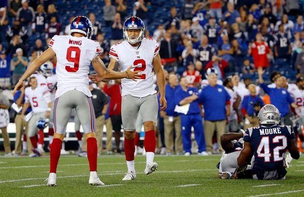 Giants kicker Aldrick Rosas celebrates his game-winning field