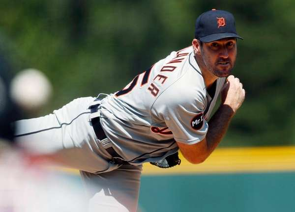 Tigers starting pitcher Justin Verlander delivers to the