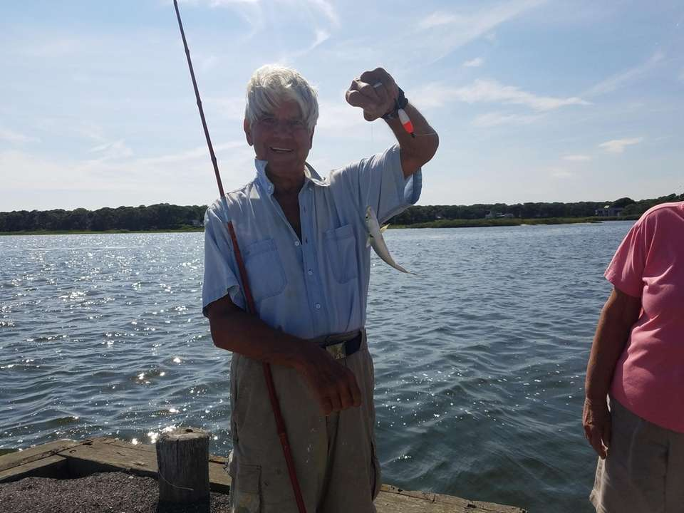 Leo Rigaud snapper fishing at Trumpets.