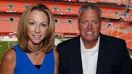 ESPN broadcasters Beth Mowins, left, and Rex Ryan