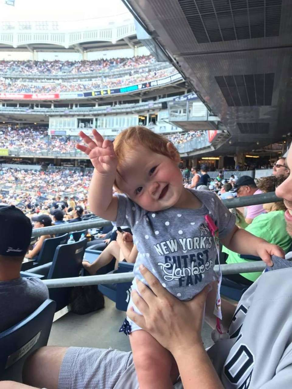Baby Brooke is enjoying her first Yankee game!
