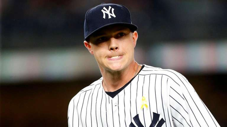 Sonny Gray of theYankees walks to the dugout